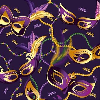 Maski z piórami i naszyjnikiem do merdi gras