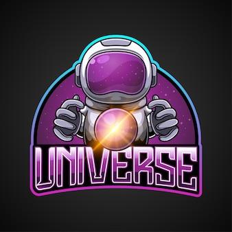 Maskotka astronauty i logo wszechświata