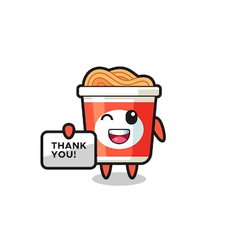 """Maskotka błyskawicznego makaronu trzymająca baner z napisem """"dziękuję"""", ładny styl na koszulkę, naklejkę, element logo"""
