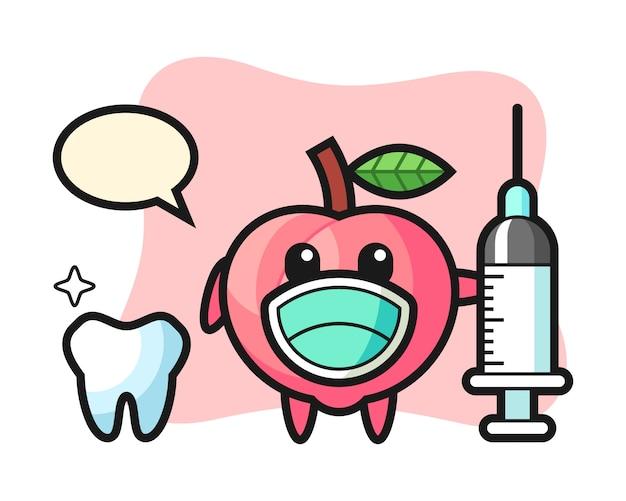Maskotka brzoskwini jako dentysta, ładny styl na koszulkę