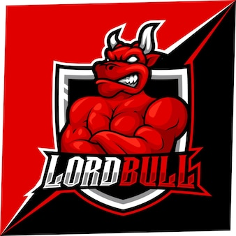 Maskotka bull esport dla logo sportu i e-sportu