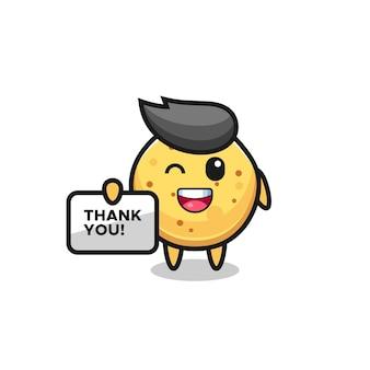 """Maskotka chipsa ziemniaczanego trzymająca transparent z napisem """"dziękuję"""", uroczy design"""