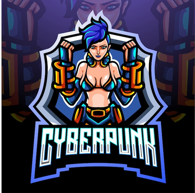 Maskotka cyberpunk. projektowanie logo esport