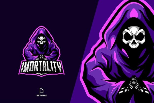 Maskotka czaszki czarownicy sport dla szablonu logo zespołu gry