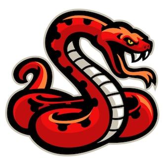 Maskotka czerwony wąż gotowy do ataku