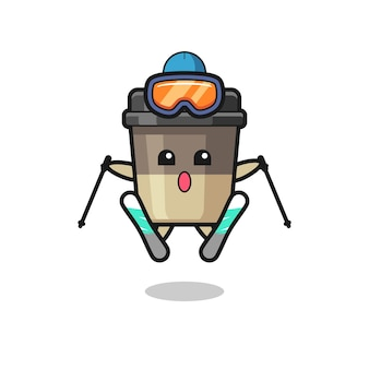 Maskotka filiżanki kawy jako narciarz, ładny styl na koszulkę, naklejkę, element logo