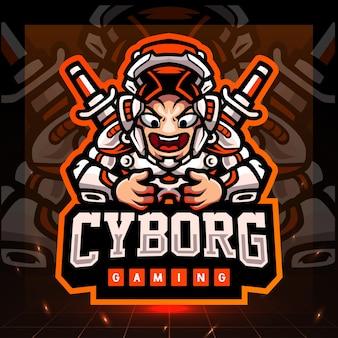 Maskotka gier cyborg. projektowanie logo esport