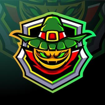 Maskotka głowa dyni. logo esport.