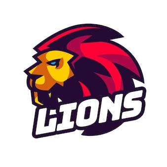 Maskotka głowa lwa na logo e-sportu