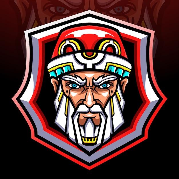 Maskotka głowa świętego mikołaja. logo esport
