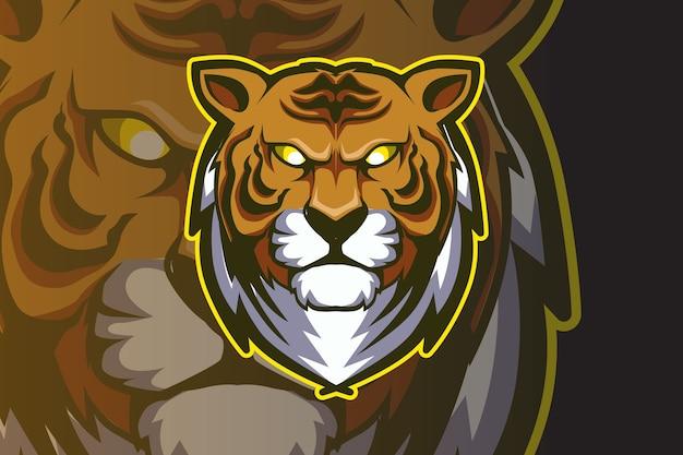 Maskotka głowa tygrysa do sportu i logo e-sportu na białym tle na ciemnym tle