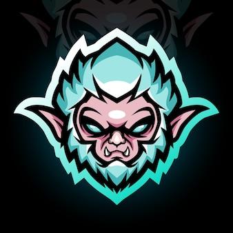 Maskotka głowy yeti. logo esport