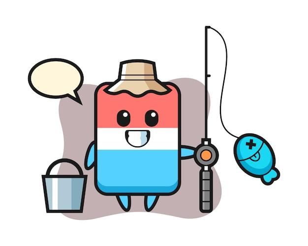 Maskotka gumka jako rybak, ładny styl, naklejka, element logo