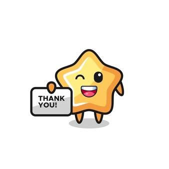 """Maskotka gwiazdy trzymająca baner z napisem """"dziękuję"""", ładny styl na koszulkę, naklejkę, element logo"""