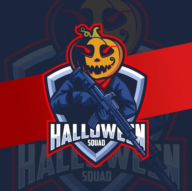 Maskotka halloween dynia z logo zespołu skład broni