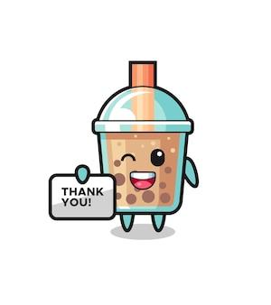 """Maskotka herbaty bąbelkowej trzymająca baner z napisem """"dziękuję"""", ładny styl na koszulkę, naklejkę, element logo"""