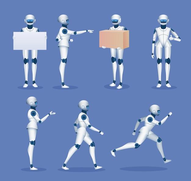 Maskotka humanoidalnego robota. kreskówka przyszłe postacie androidów. roboty 3d biegnące, stojące, trzymające tablicę plakatową i zestaw wektorów dostawy. ilustracja usługi robota dostawczego
