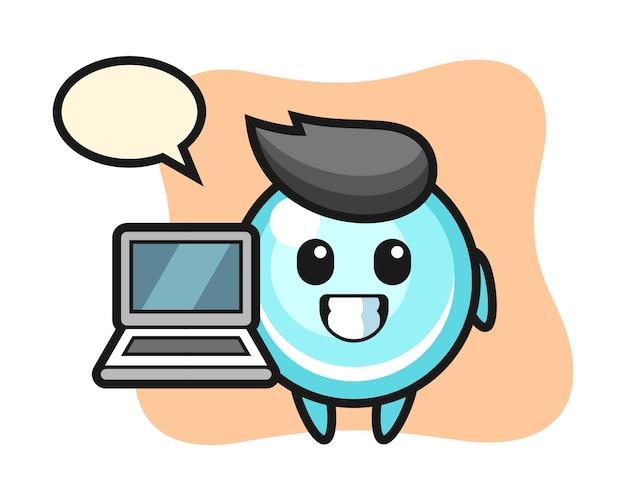 Maskotka ilustracja bańki z laptopem, ładny styl