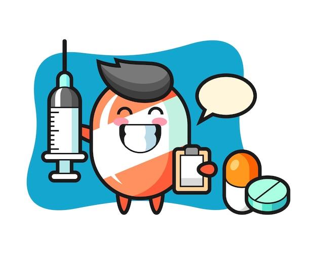 Maskotka ilustracja cukierków jako lekarz
