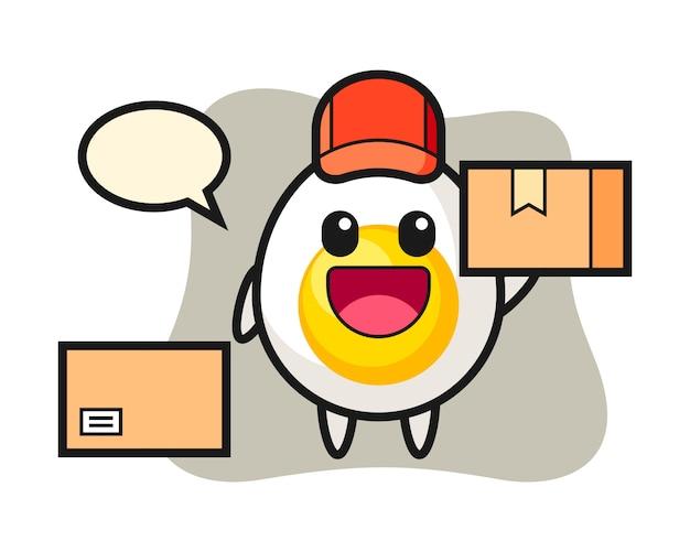 Maskotka ilustracja jajko na twardo jako kurier