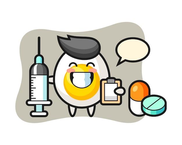 Maskotka ilustracja jajko na twardo jako lekarz