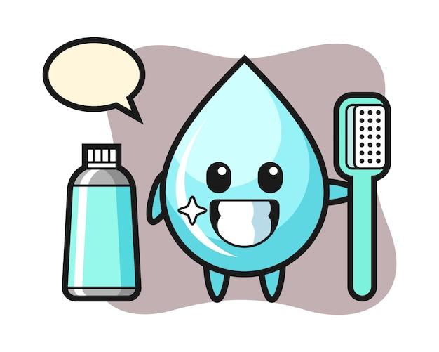 Maskotka ilustracja kropli wody ze szczoteczką do zębów, ładny styl na koszulkę