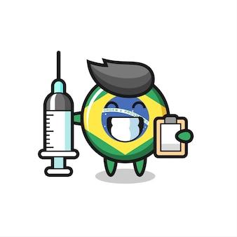 Maskotka ilustracja odznaki flagi brazylii jako lekarz, ładny styl na koszulkę, naklejkę, element logo
