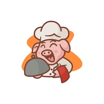 Maskotka ilustracja świnia szefa kuchni
