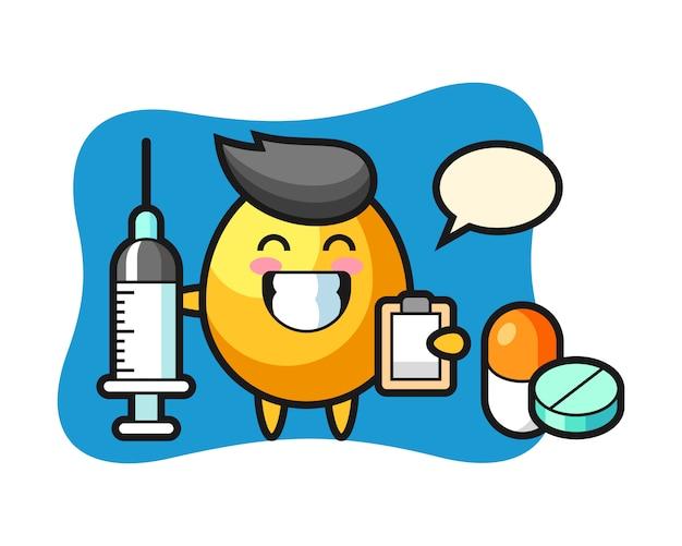 Maskotka ilustracja złote jajko jako lekarz, ładny styl