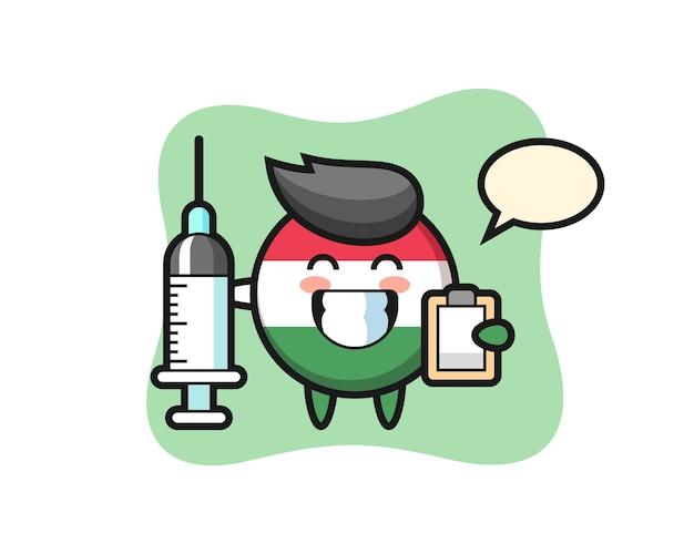 Maskotka ilustracja znaczka flagi węgier jako lekarz, ładny styl na koszulkę, naklejkę, element logo