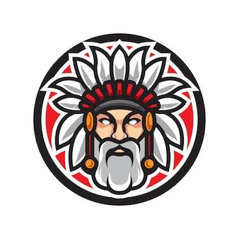 Maskotka indian starego człowieka logo