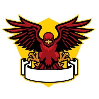 Maskotka jastrząb rozkłada skrzydła