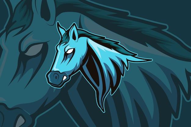 Maskotka konia do sportu i logo e-sportu na białym tle na ciemnym tle