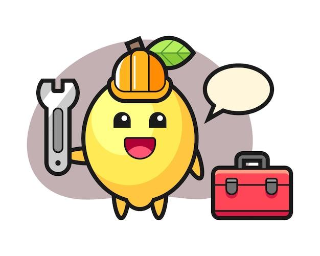Maskotka kreskówka cytryny jako mechanik