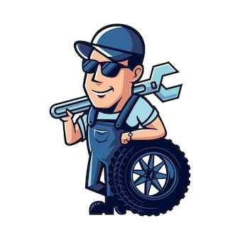 Maskotka kreskówka mechanik