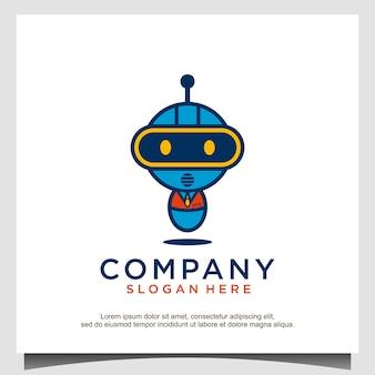 Maskotka kreskówka robot futurystyczny wektor projektowania logo