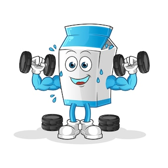 Maskotka kreskówka trening wagi mleka