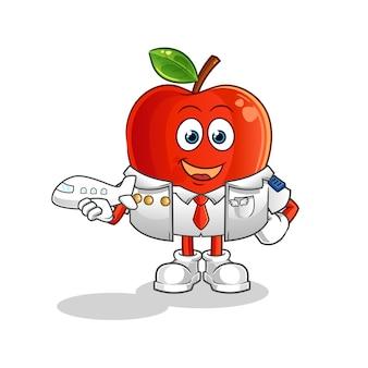 Maskotka kreskówki pilota czerwone jabłko