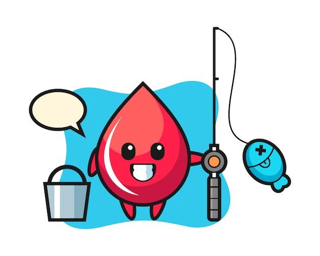 Maskotka kropla krwi jako rybak, ładny styl, naklejka, element logo