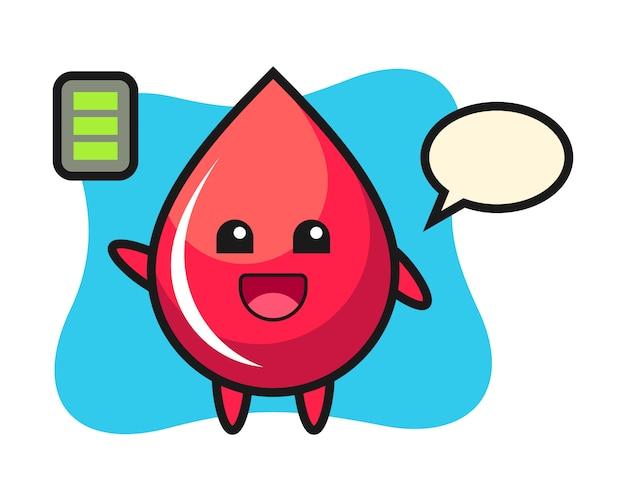 Maskotka kropla krwi z energicznym gestem, uroczy styl, naklejka, element logo
