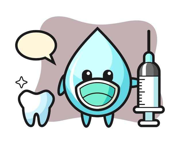 Maskotka kropla wody jako dentysta, ładny styl na koszulkę