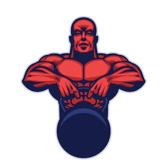 Maskotka kulturysty trzymająca kettlebell