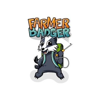 Maskotka logo badger farmer