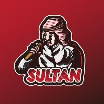 Maskotka logo bogaty sułtan piosenkarz grafika wektorowa sport