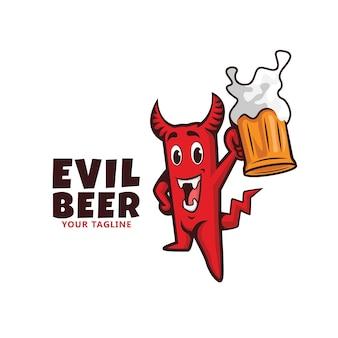 Maskotka logo diabła piwa. uśmiechnięte zło.