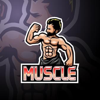 Maskotka logo esport mięśni