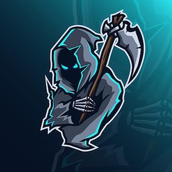 Maskotka logo koncepcja żniwiarza