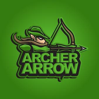 Maskotka logo łucznik zielona strzałka