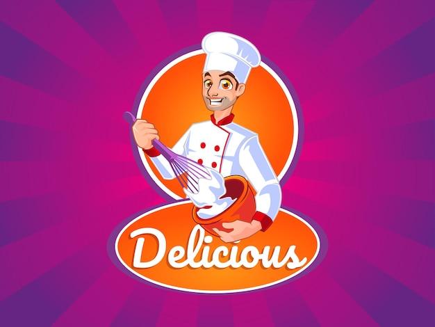 Maskotka logo mężczyzna szef kuchni robi ciasto na ciasteczka