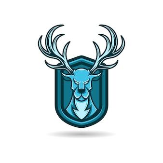 Maskotka logo niebieski jeleń z tłem tarczy. premia